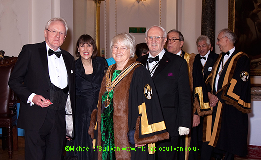 Alderman Dr Andrew Palmley, Late Sheriff Fiona Adler, The Master, John Brown, the Master Elect, the Immediate Past Master and the Renter Warden prepare to process into Dinner.