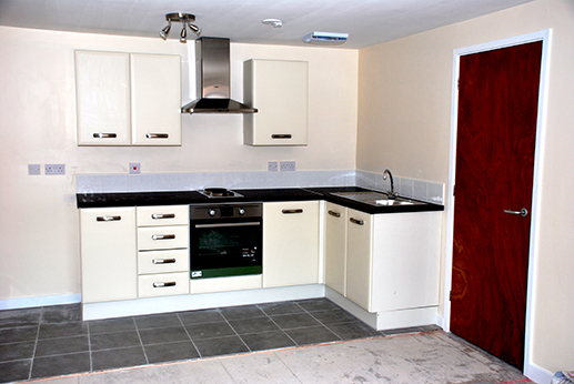 A recently completed kitchen at MoCoCo House, Middlewich, Cheshire.