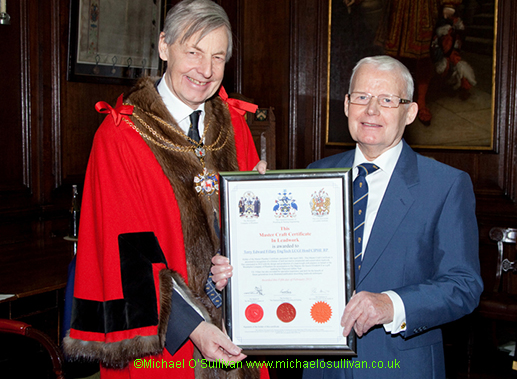 Master Craftsman in Leadwork, Liveryman Terry Fillary with Sheriff Nigel Pullman