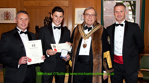 Mr Pete Curtis, Dan Martins the Gold Medallist, The Master, Corporate Liveryman Duncan Benedetti