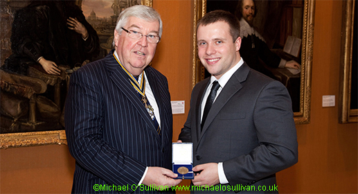 Shane Trevitt receives the The Worshipful Company of Plumbers Gold Medal from the Master