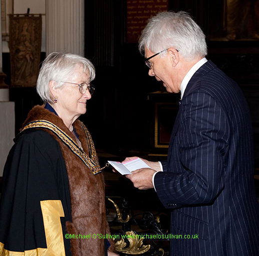 The outgoing Master, Steve Hodkinson installs the New Master Erica Stary
