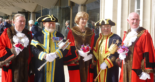 The Lord Mayor Elect with the Sheriffs and Beadles.