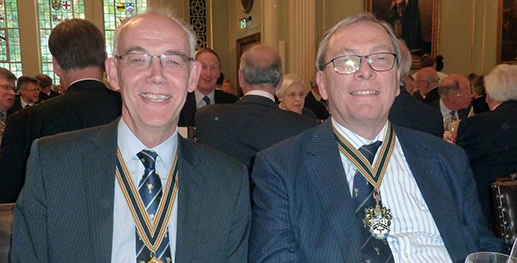 The Upper Warden (Master Elect) and the Master at the post election luncheon.