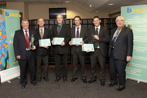 BPEC chairman Frank Glover, BPEC Charity awards winners Martin Biron, John Booth, Stephen Dobney, Lee Firth and the Master of the Worshipful Company of Plumbers Charles Yuill.