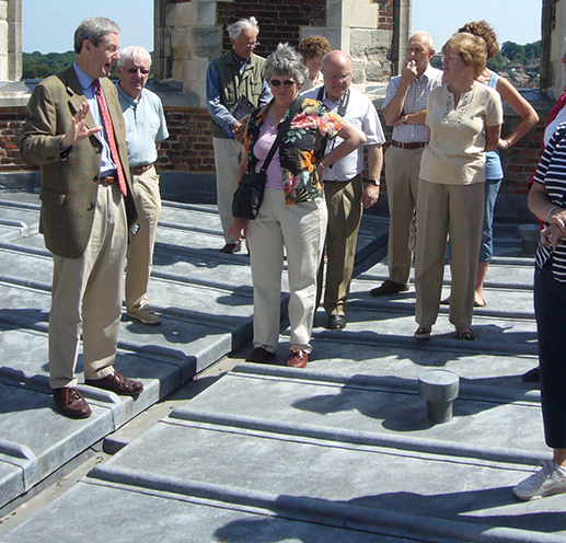 Inspecting Leadwork on the roof of Canterbury Cathedral. Master's Weekend 2007