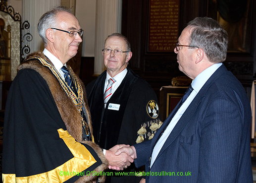 The new Master is congratulated by the outgoing Master Brian Wadsworth