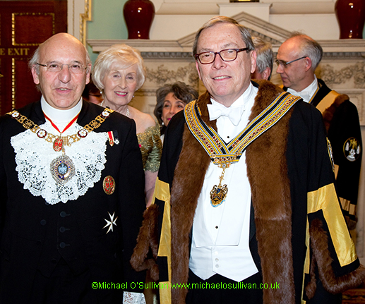 The Master with the Lord Mayor Locum Tenens Alderman Sir Michael Bear. Following them can be seen the Lady Plumber, Lady Bear and the Upper Warden