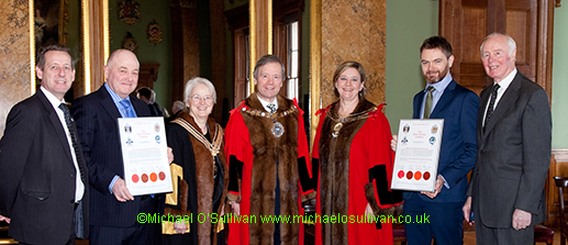 Liveryman Kevin Wellman, John Pashley, The Master, The Lord Mayor, Lay Sheriff, Dr Christine Rigden, Shaun Burrows, Past Master Geoff Marsh