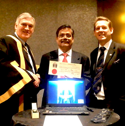 Sudhakaran Nair the current Chairman of the World Plumbing Council and Chairman of the Indian Plumbing Association (accompanied by Liveryman Kevin Wellman)