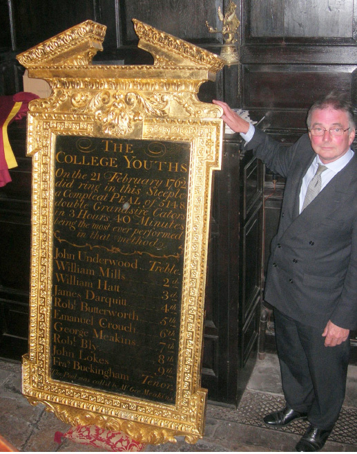 Peter Rumley with the 18th century Peal Board