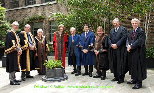 Renter Warden, Robert Burgon, Upper Warden, Brian Wadsworth, The Master, Erica Stary, Alderman Dame Fiona Woolf, Chief Commoner, Michael Welbank MBE, Chairman Open Spaces & City Gardens, Graeme Smith, City Chamberlain of London, Dr Peter Kane, the Remembrancer, Paul Double and the Clerk to the Chamberlain's Court, Murray Craig.