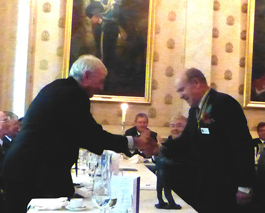 Past Master John Rae, the most senior Past Maaster present, is represented with his ladle.