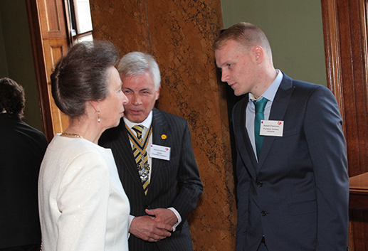 Princess Anne talking to the Master, Russell and Freddie.