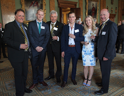 Liveryman Peter Cheesman, Russell's father; Russell Cheesman; the Master, Steve Hodkinson; Freddie Newbery; Freddie's girlfriend, Poppy; the Clerk, Air Cdre Paul Nash