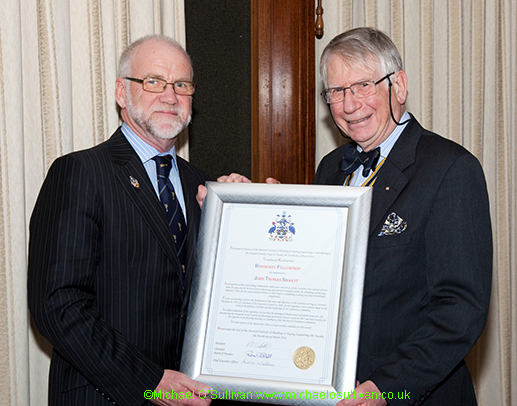 John Smartt receives his Honorary Fellowship from Prof Rodney Cartwright, Chairman of the Board of Trustees