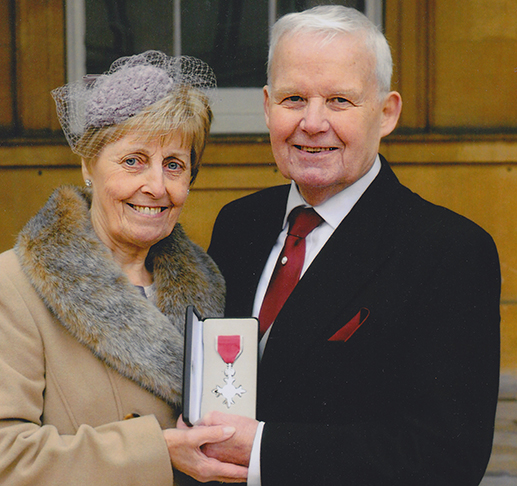 Liveryman Terry Fillary MBE with his wife Betty at Buckingham Palace.